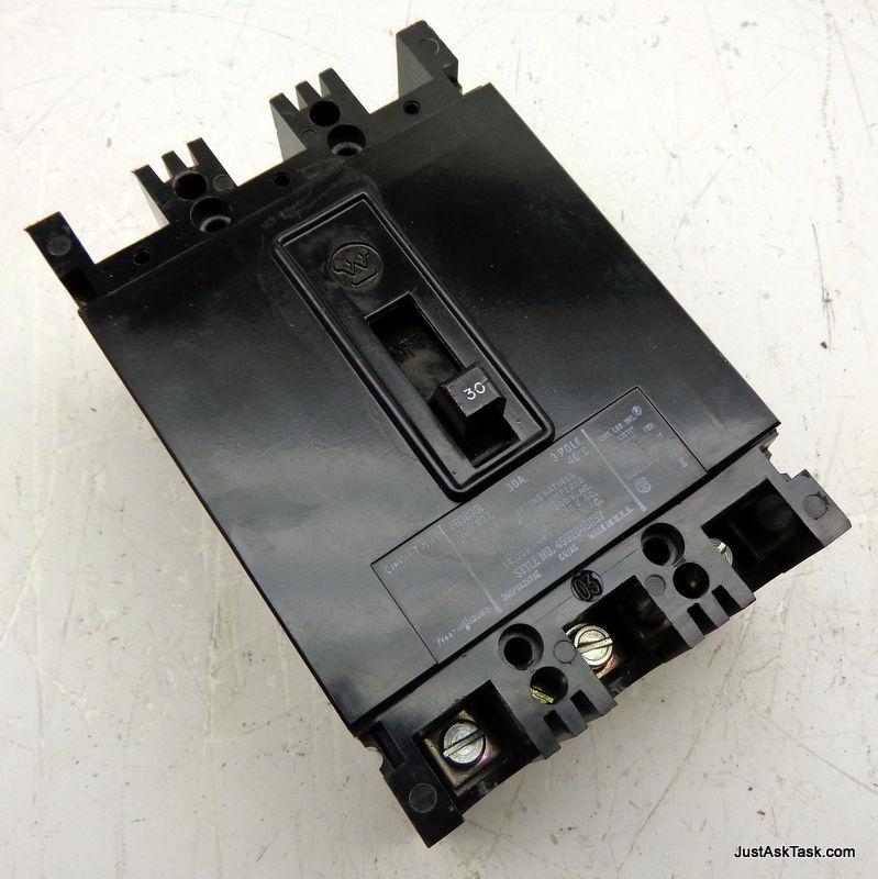 WESTINGHOUSE 600VAC 30A 3-POLE CIRCUIT BREAKER FB3030L 4992D46G37