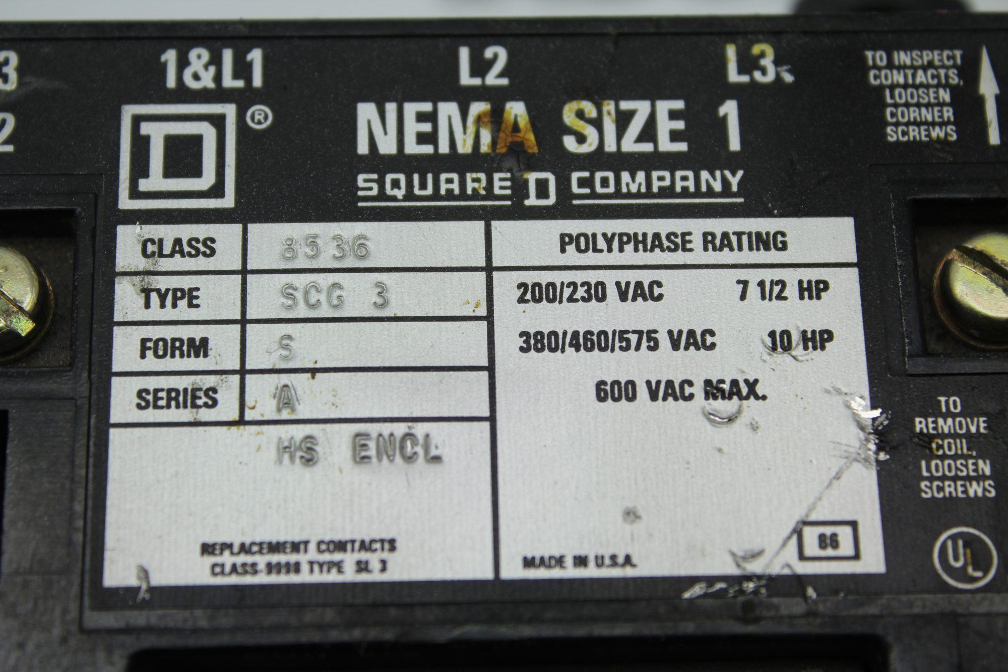 Square D Nema Size 1 8536 SCG 3 Contactor Coil Starter
