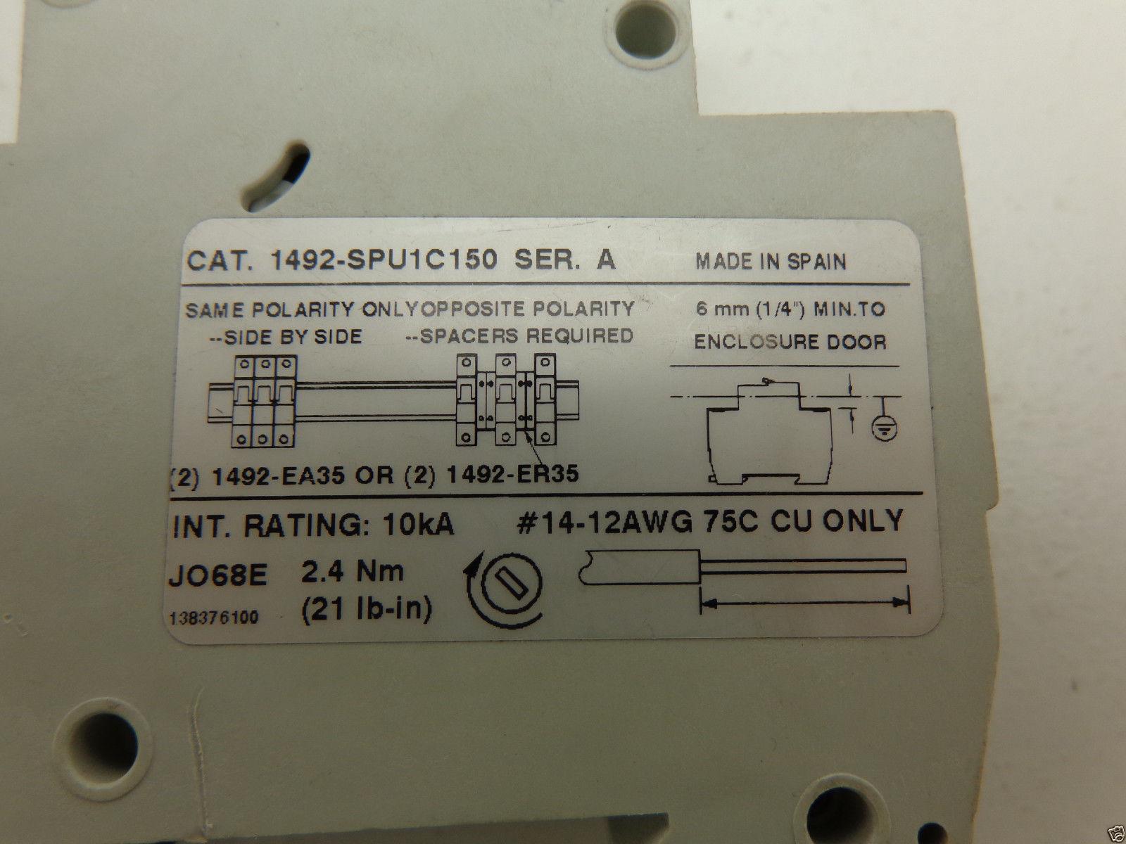 Allen Bradley Industrial Circuit Breaker 1492 Spu1c150 15a Details About Siemens 5sx21 C5 230 400v 5 Amp