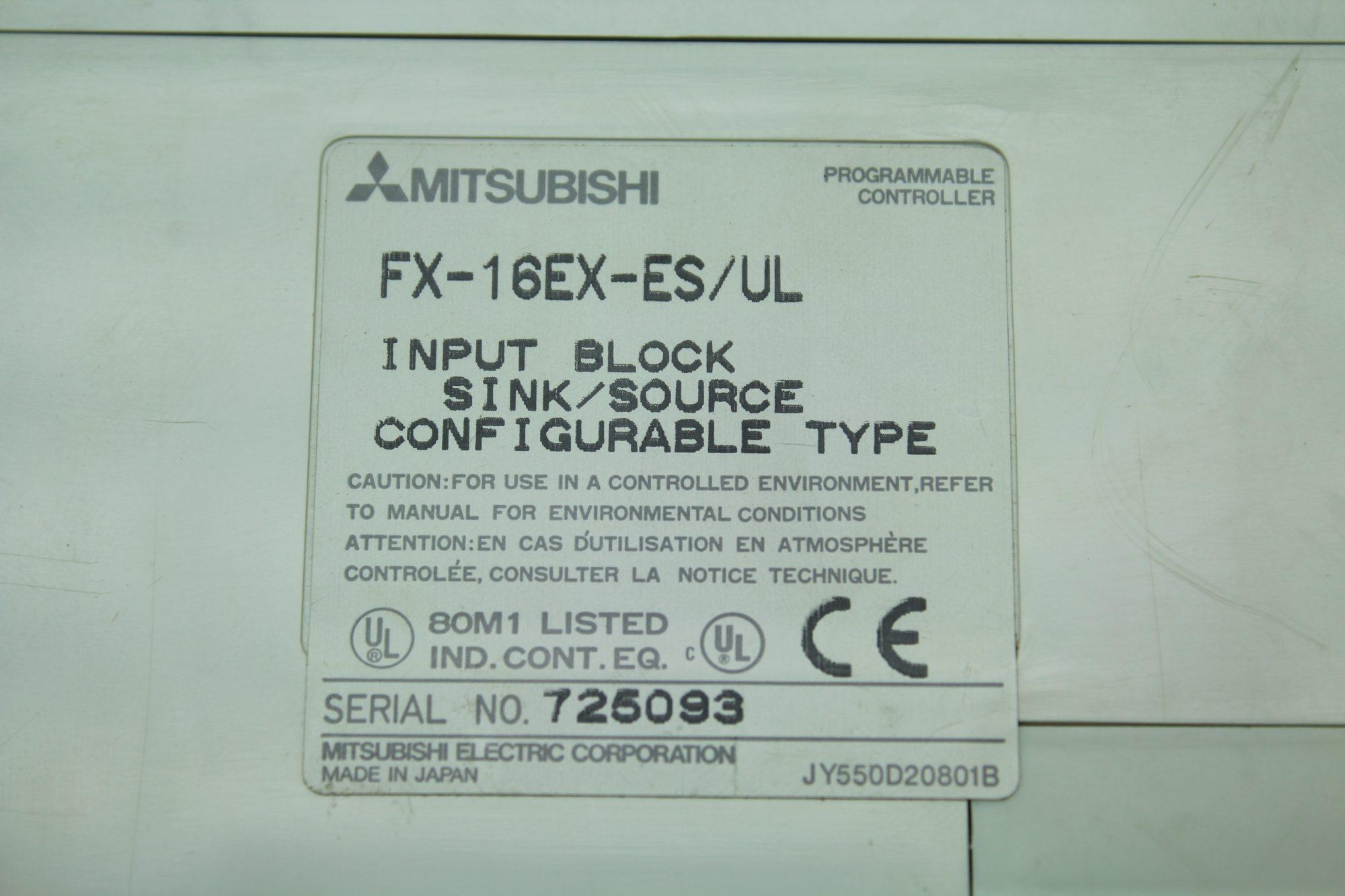 Mitsubishi FX-16EX-ES/UL PLC Input Block