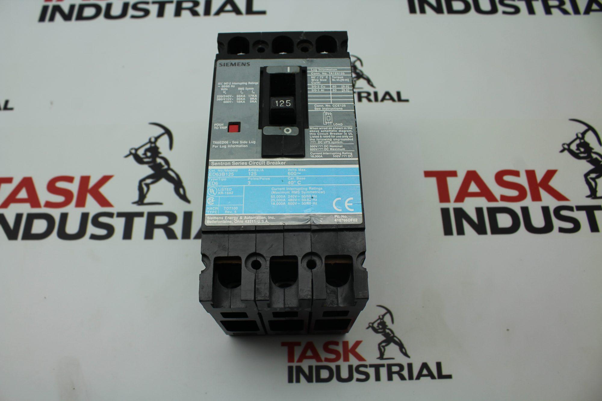 Siemens Sentron Series Circuit Breaker 125AMP ED63B125