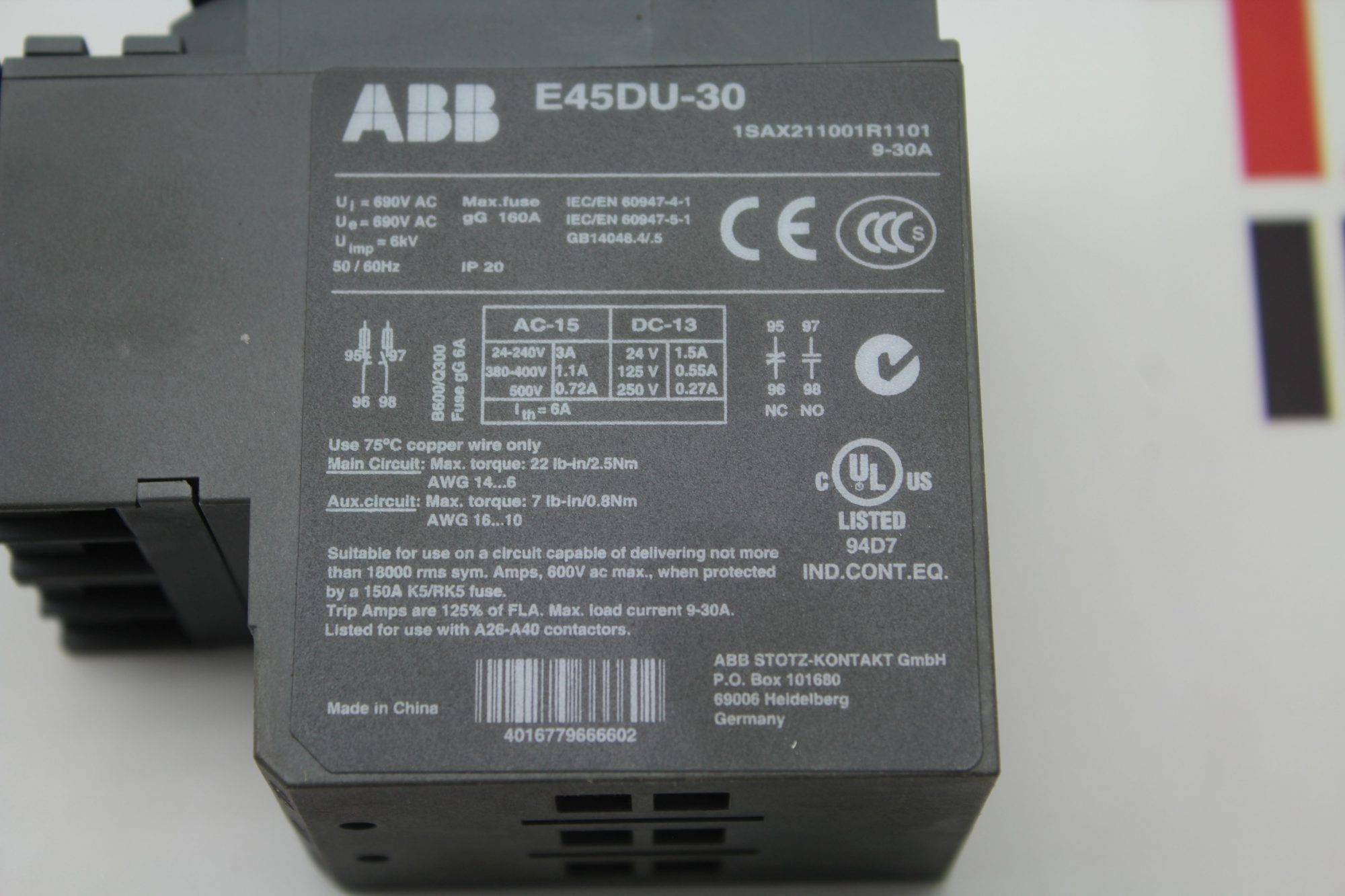 Abb E45du 30 Overload Relay Solid State