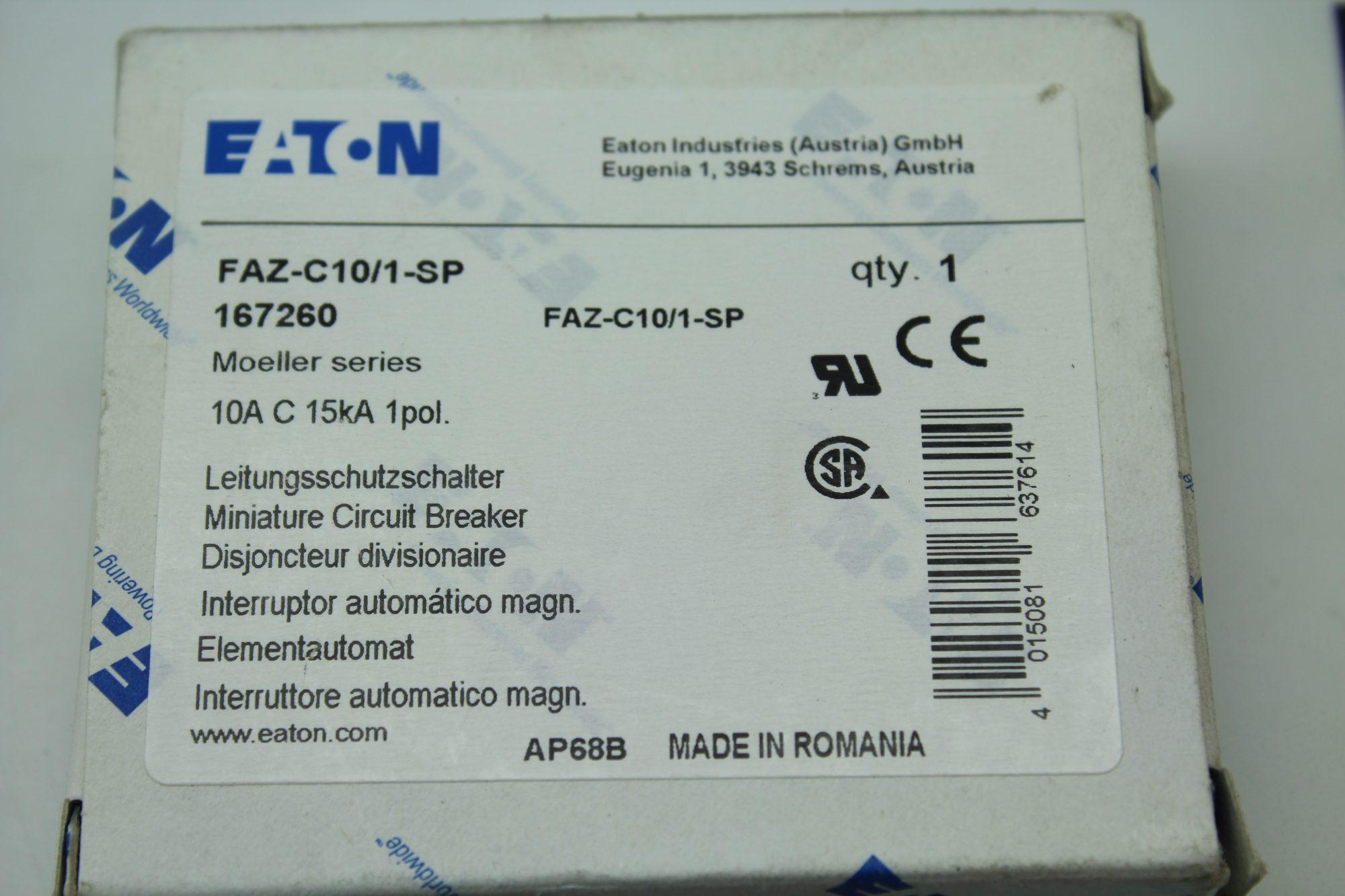 Eaton Faz C10 1 Sp Moeller Series Circuit Breaker Miniature Breakers