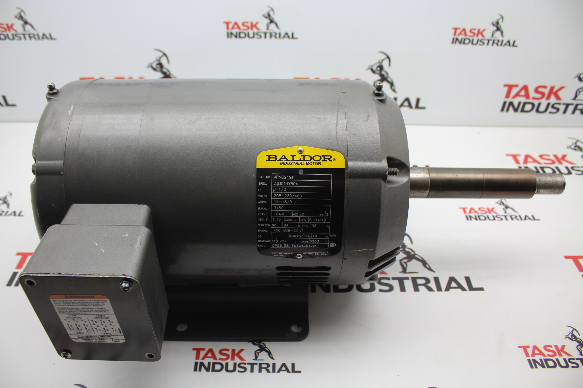 Baldor Archives Task Surplus 3 Hp Motor Wiring Diagram Tags This Is Jpm3219t 75 Rpm 3450 Frame 184jp Ph
