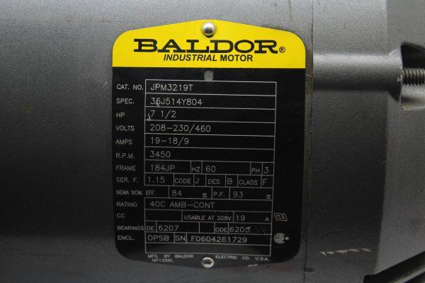 Baldor JPM3219T 7.5 HP, RPM 3450, FRAME 184JP, 3 PH Motor