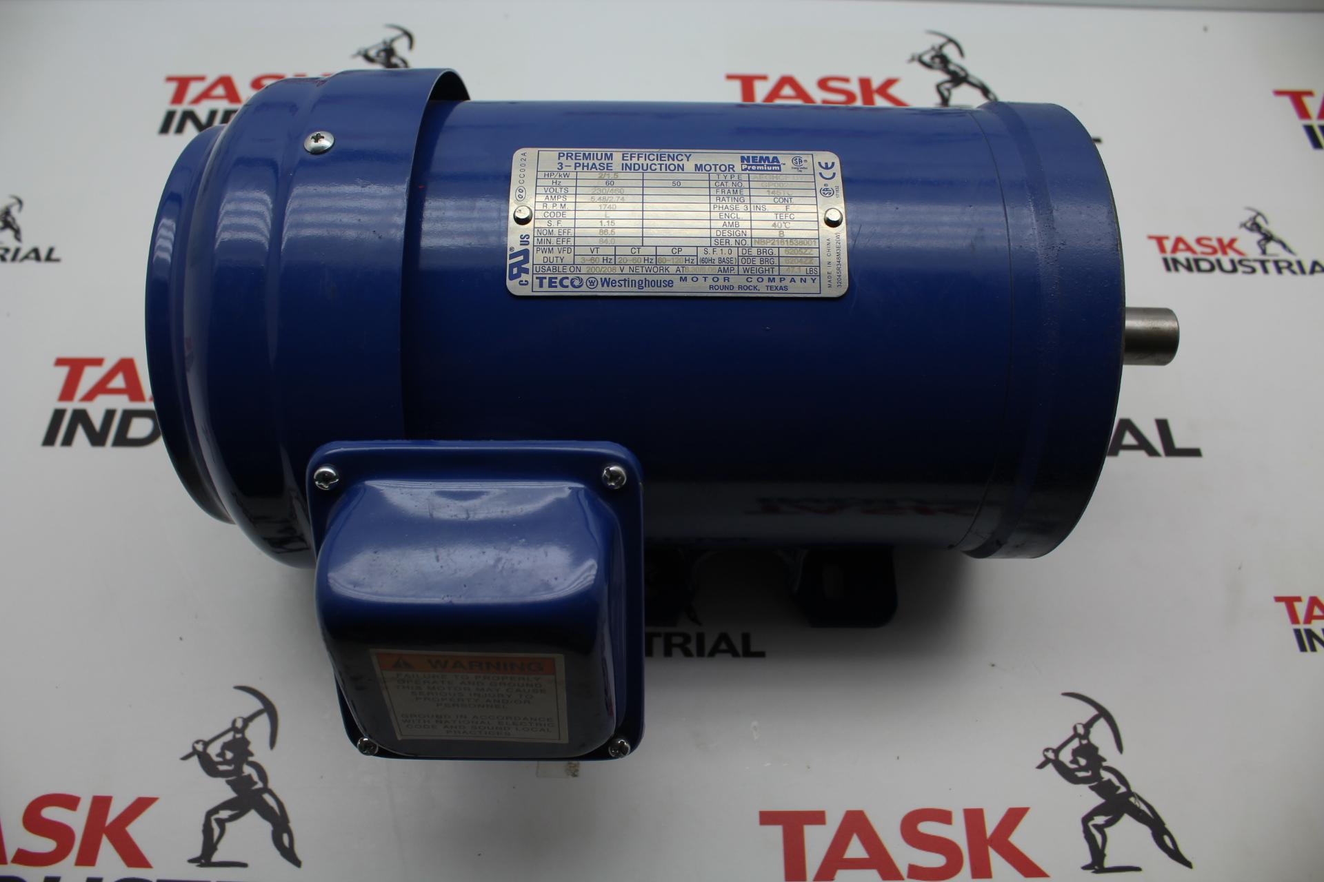 TECO Westinghouse GP0024C 2/1.5 HP, 1740 RPM, FRAME 145TC, 3 PH Motor