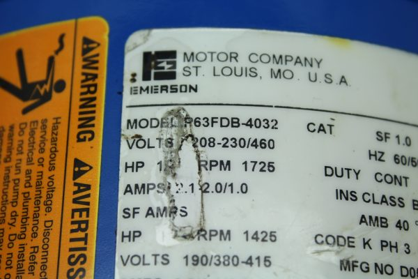 Emerson Electric Motor Model P63FDB-4032 1/2 HP, 1725 RPM
