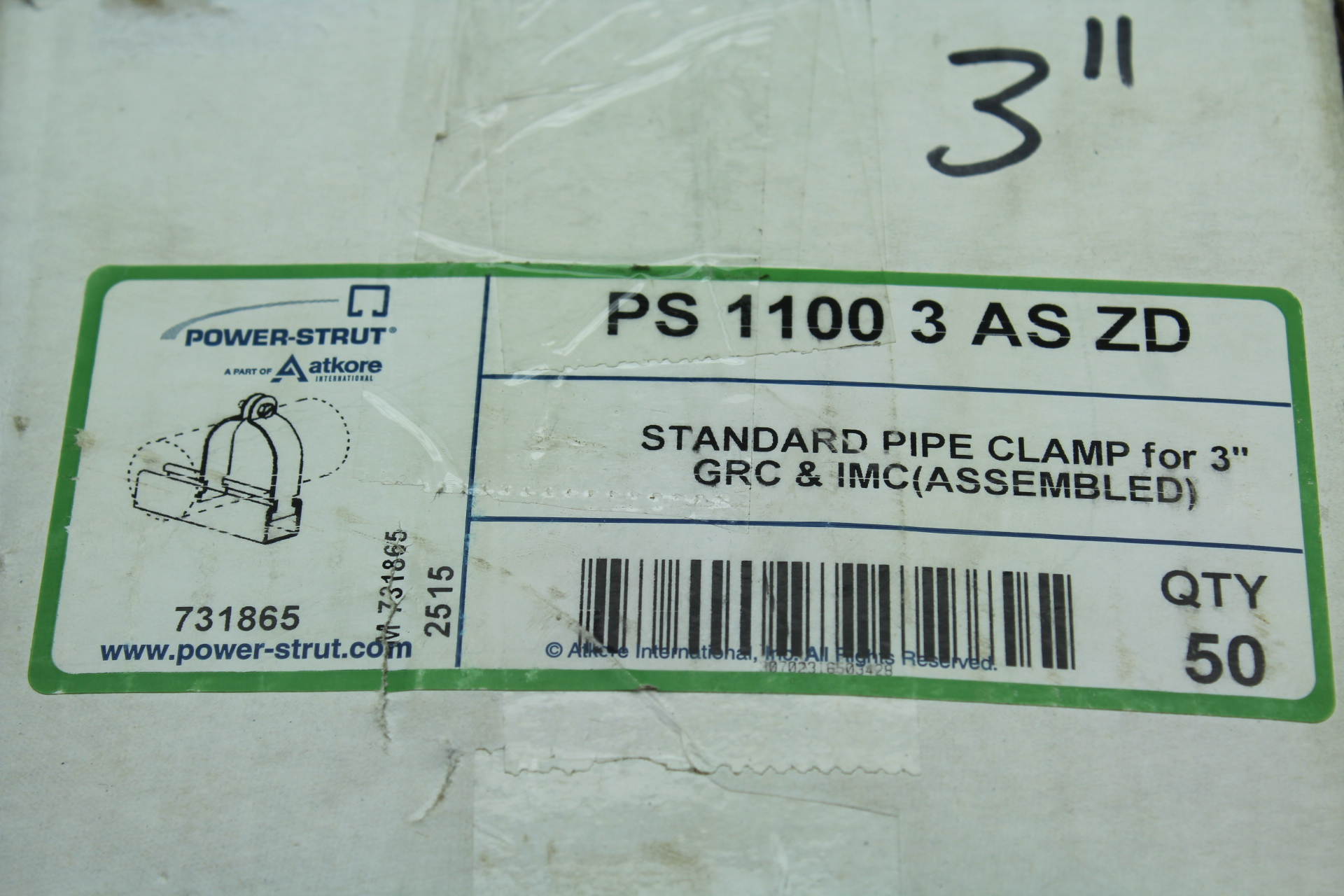 """Power Strut PS 1100 3 AS ZD 3"""" Pipe Clamp Box of 50"""