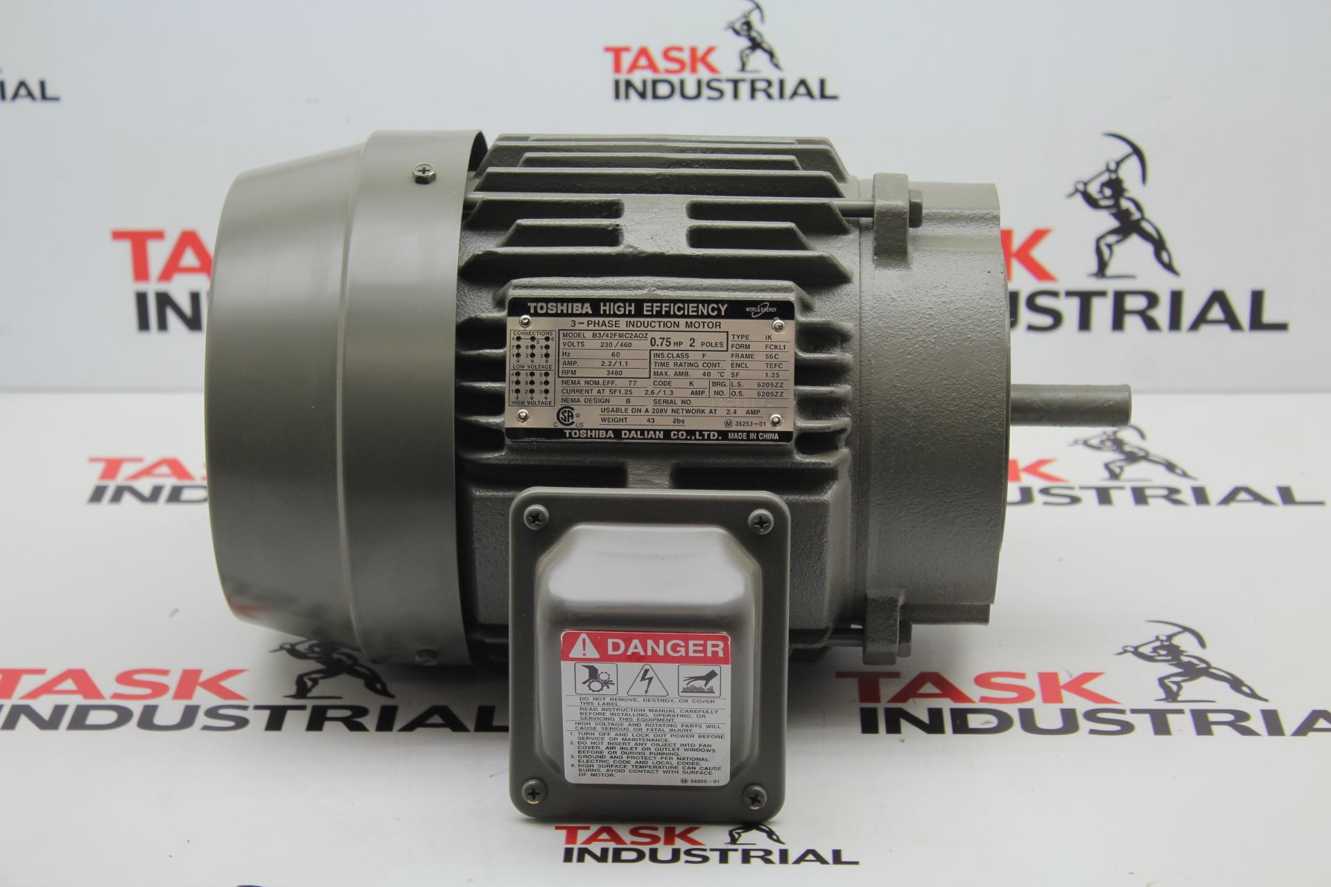 Toshiba Model B3/42FMC2AOZ 3PH, .75HP, 3480RPM, 56CFRAME