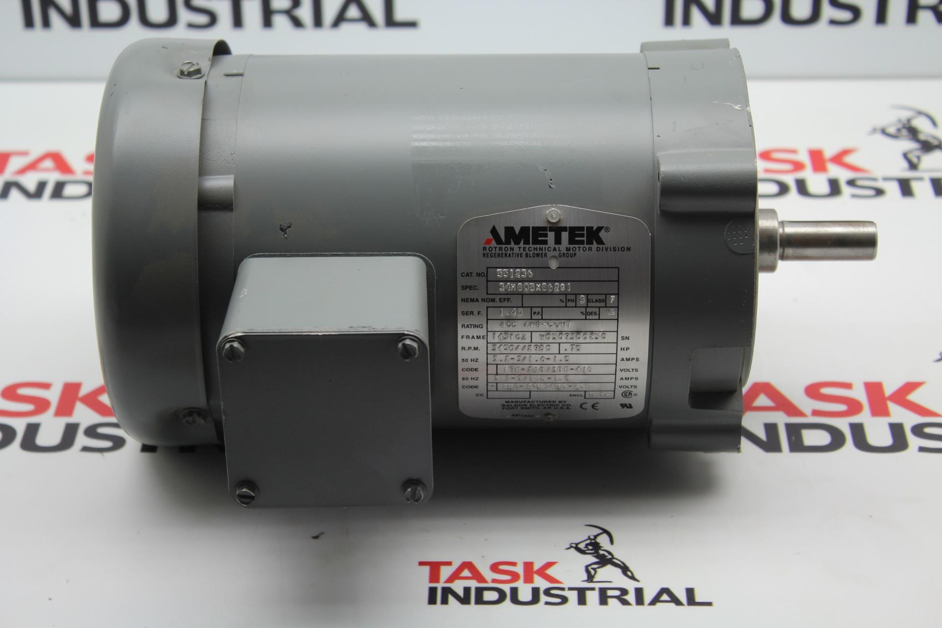 Ametek 551236 .75 HP, 143TCZ FRAME, ROM 3450/2900, 3 PH Motor