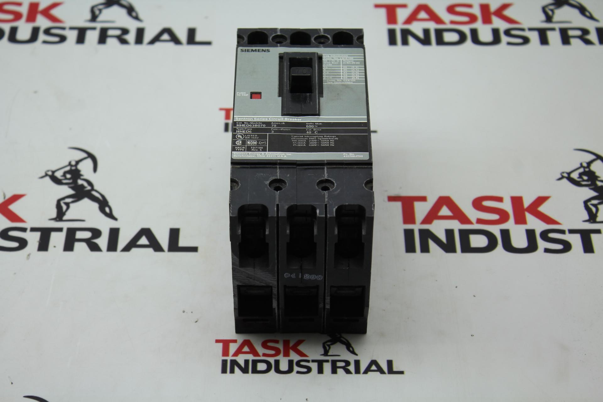 Siemens Sentron Series Circuit Breaker HHED63B070 70AMPS