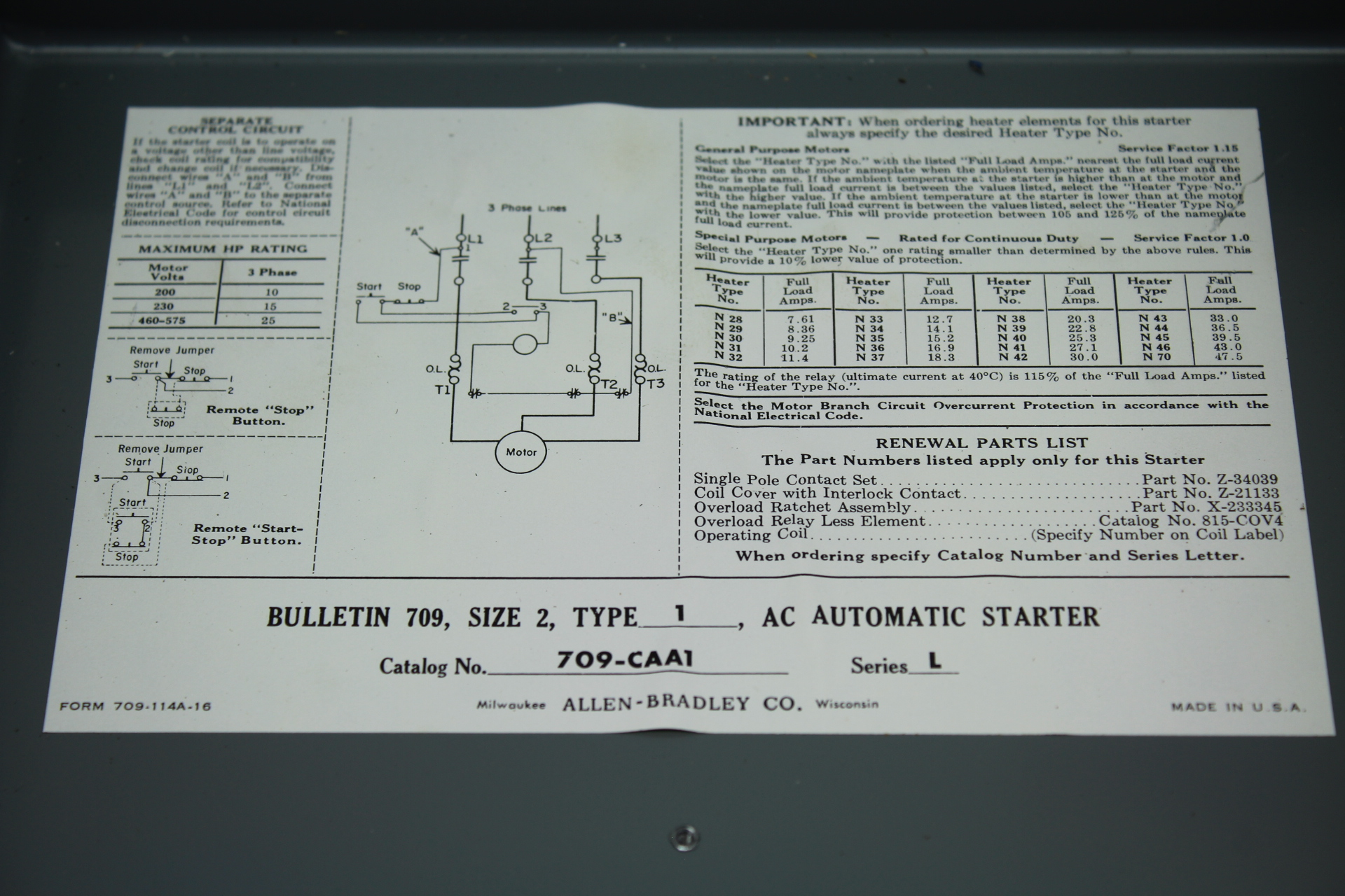 Allen-dley Bulletin 709, Size 2, Type 1, AC Automatic Starter CAT  on
