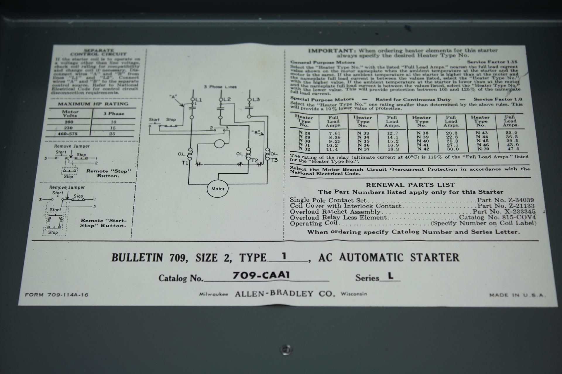 Allen-Bradley Bulletin 709, Size 2, Type 1, AC Automatic Starter CAT ...