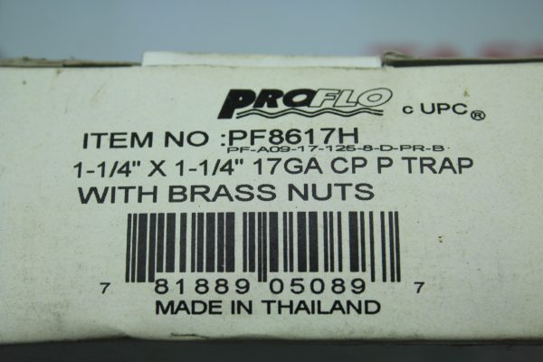 """Proflow PF8617H 1-1/4"""" X 1-1/4"""" 17GA CP P TRAP WITH BRASS NUTS"""