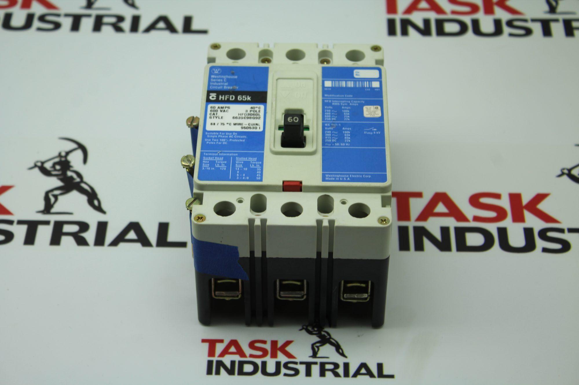 Westinghouse Series C HFD 65k Circuit Breaker.