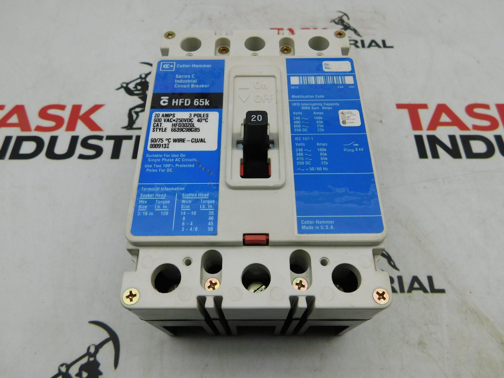 Cutler-Hammer CAT No. HFD3020L 20A 600VAC 250VDC 3 Pole Circuit Breaker