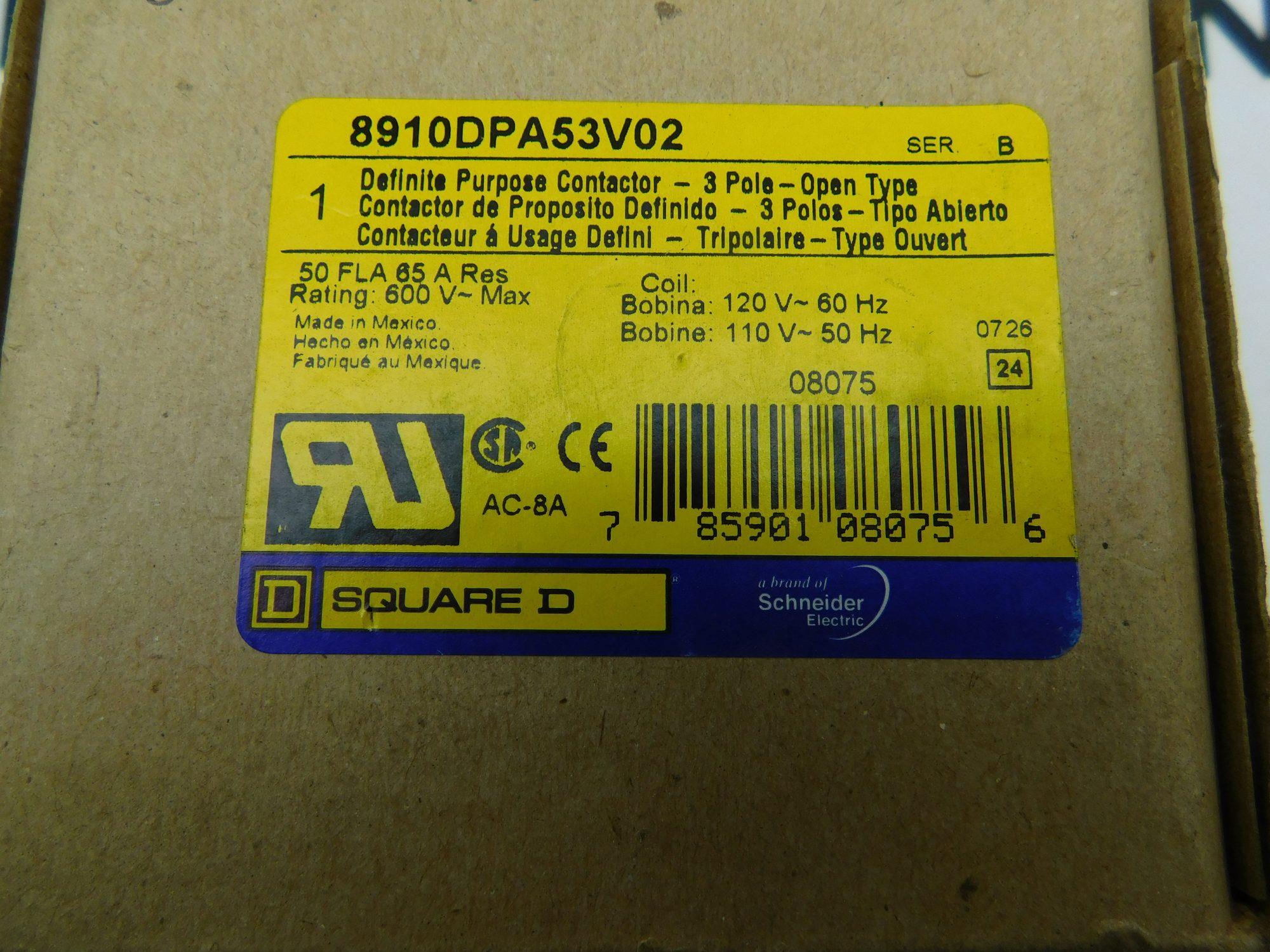 Square D 8910DPA53V02 Contactor Series B 3 Pole 50 FLA 65A Res