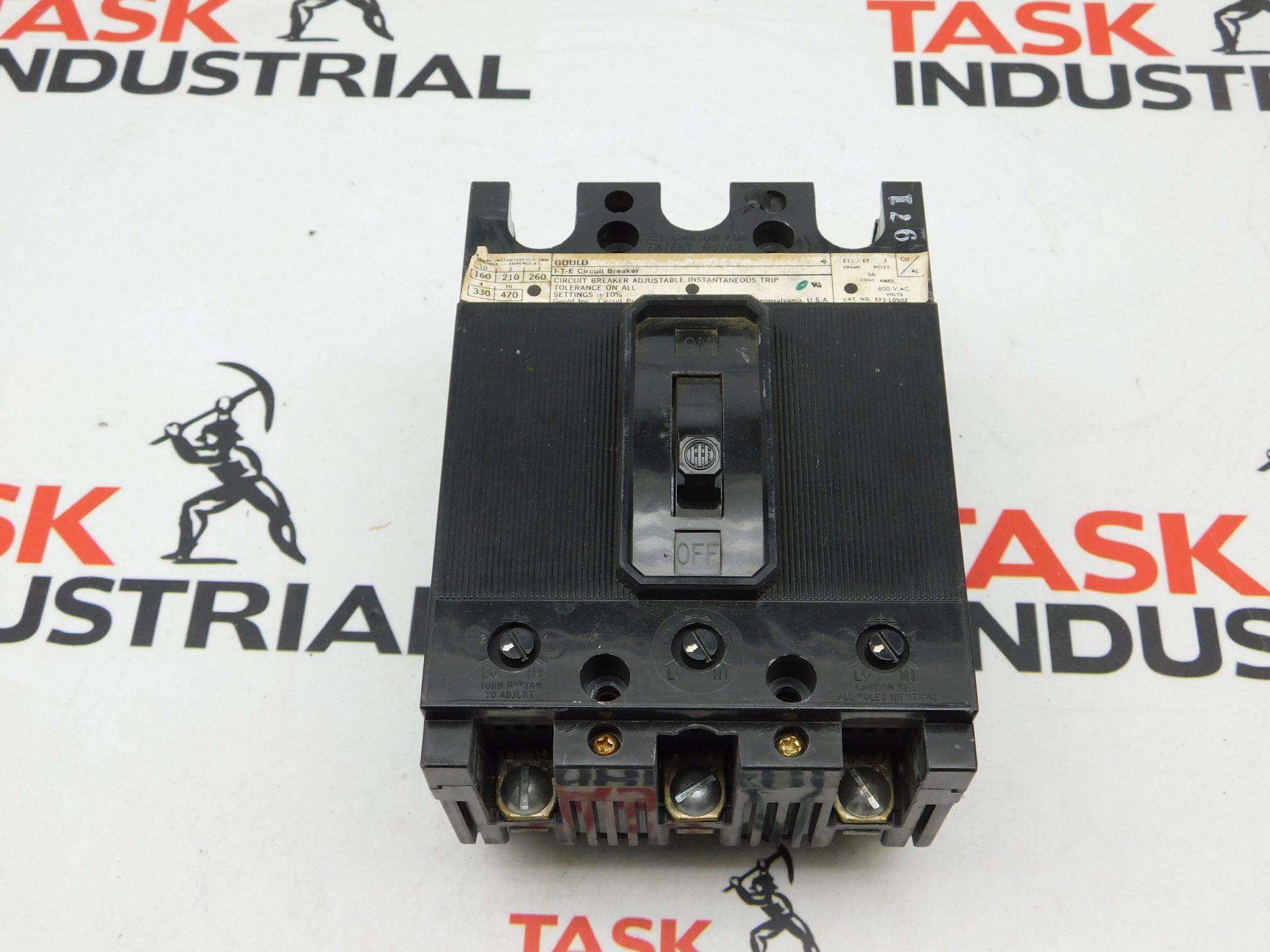 Gould CAT No. EF3-L050Z 600VAC 3 Pole Circuit Breaker