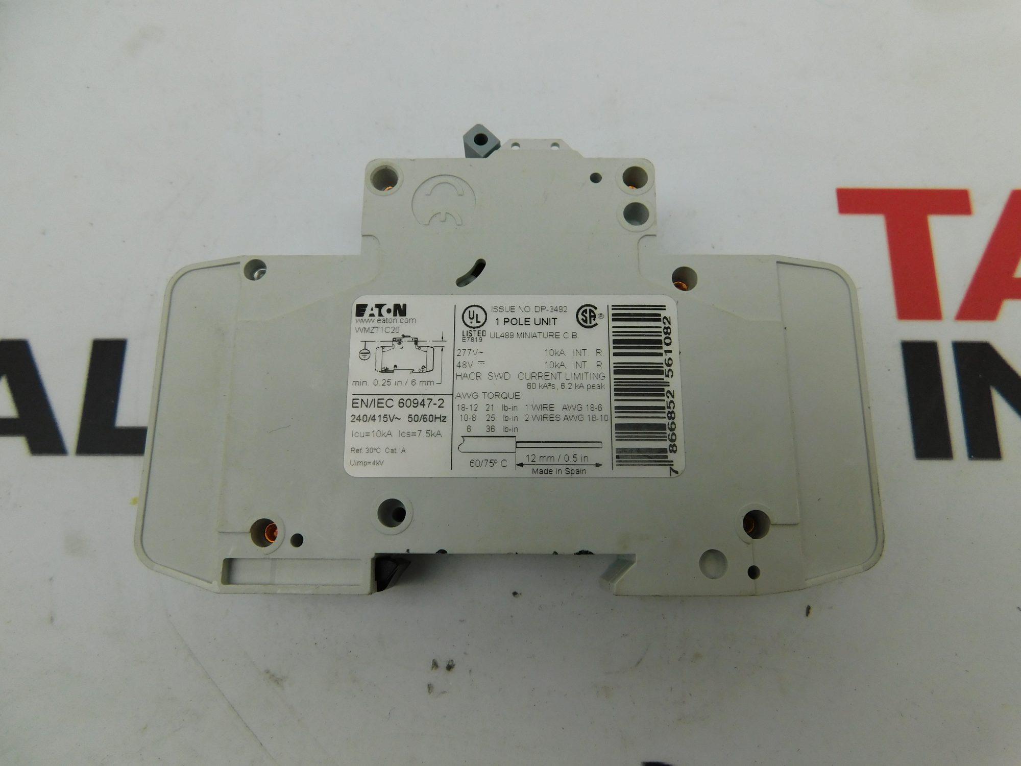 Eaton WMZT1C20 20 Amp Miniature Circuit Breaker