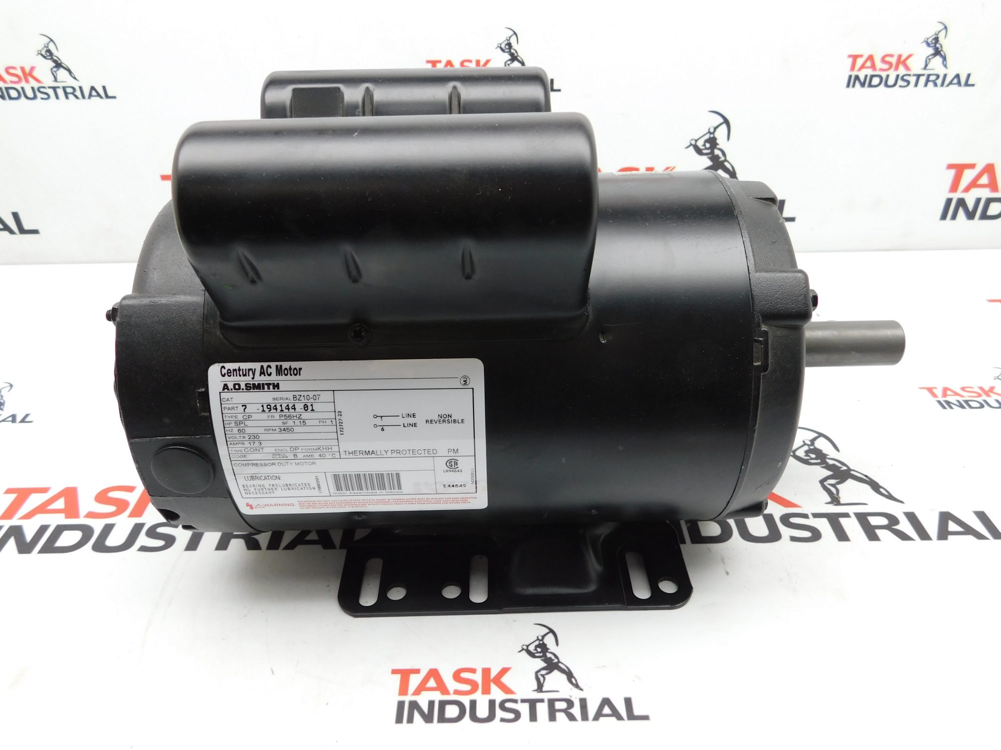 Century AC Motor A.O. Smith CAT No. BZ10-07 HP SPL, RPM 3450, 1PH
