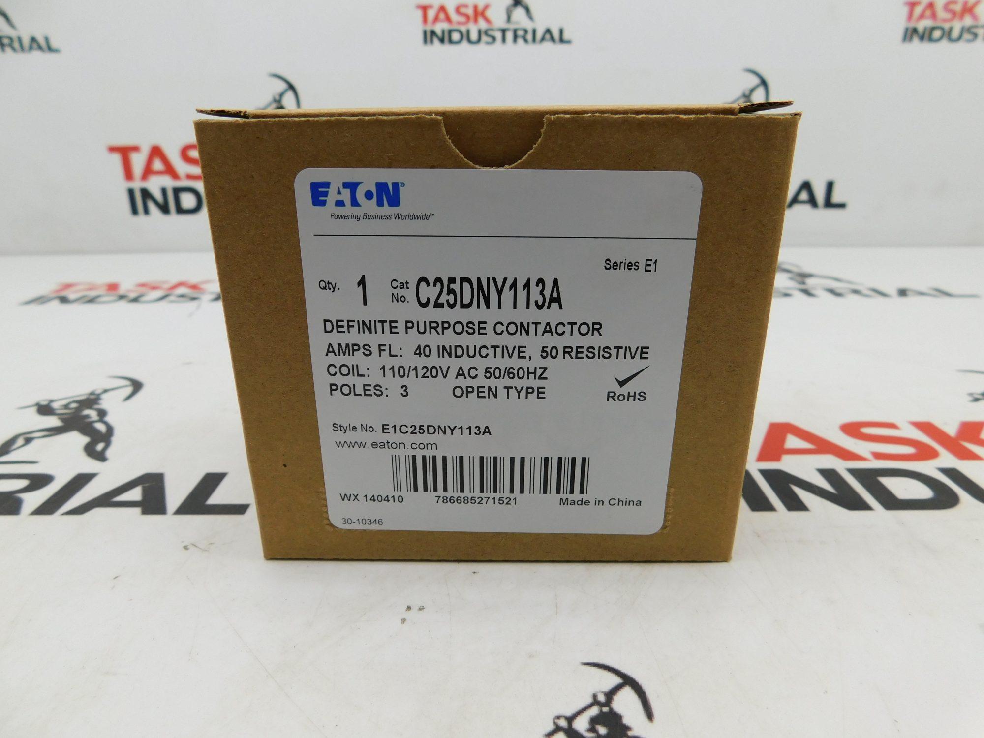 Eaton Definite Purpose Contactor 40AMP CAT No. C25DNY113A Series E1