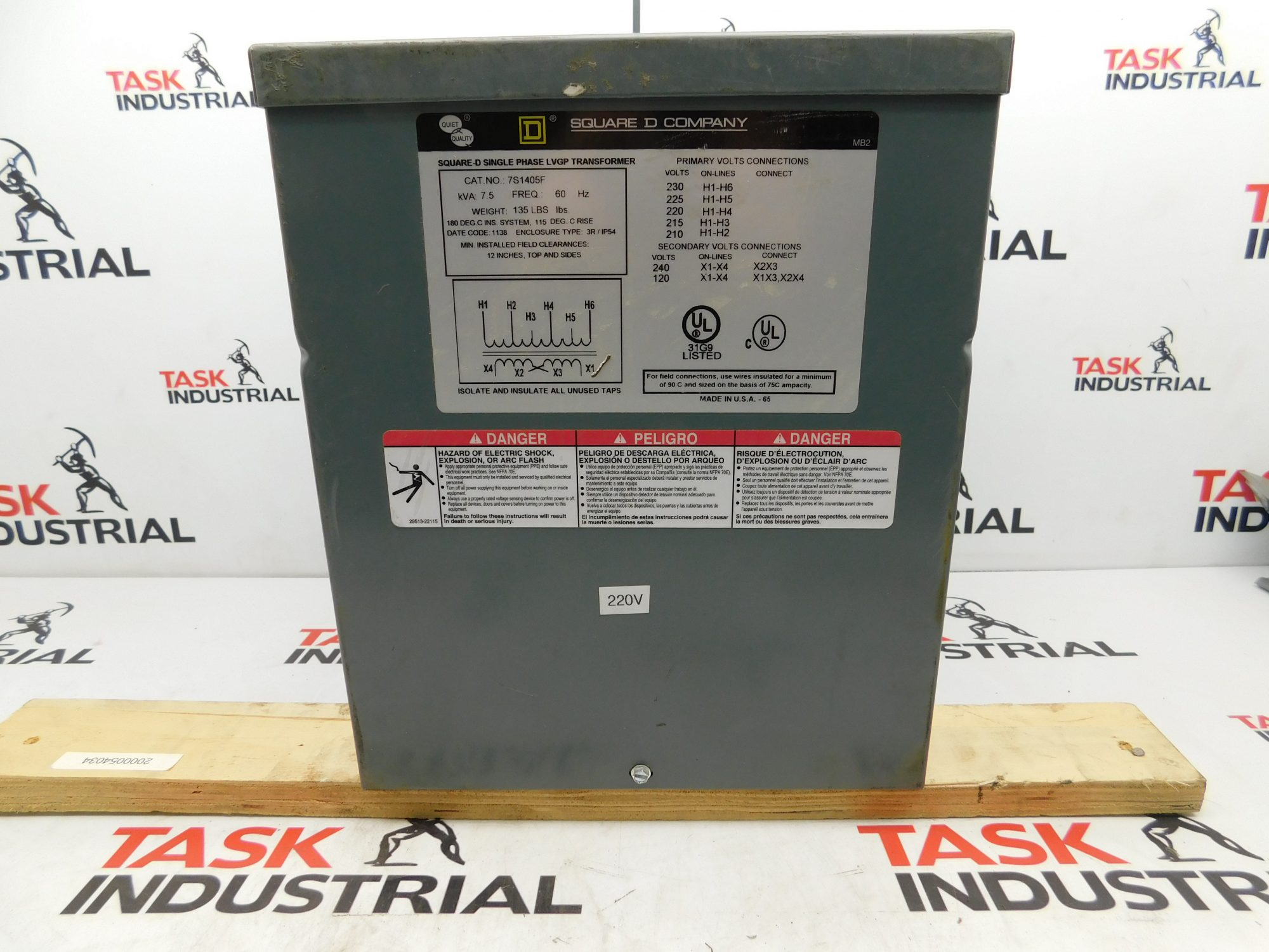 Square D CAT No. 7S1405F Single Phase LVGP Transformer