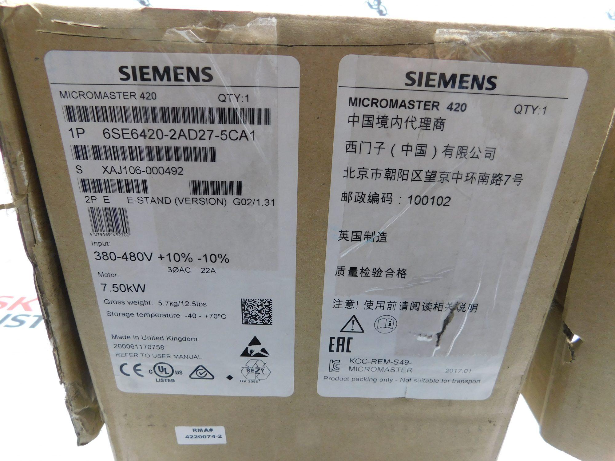 Siemens MicroMaster 420 6SE6420-2AD27-5CA1 380-480V 7.50kW Motor