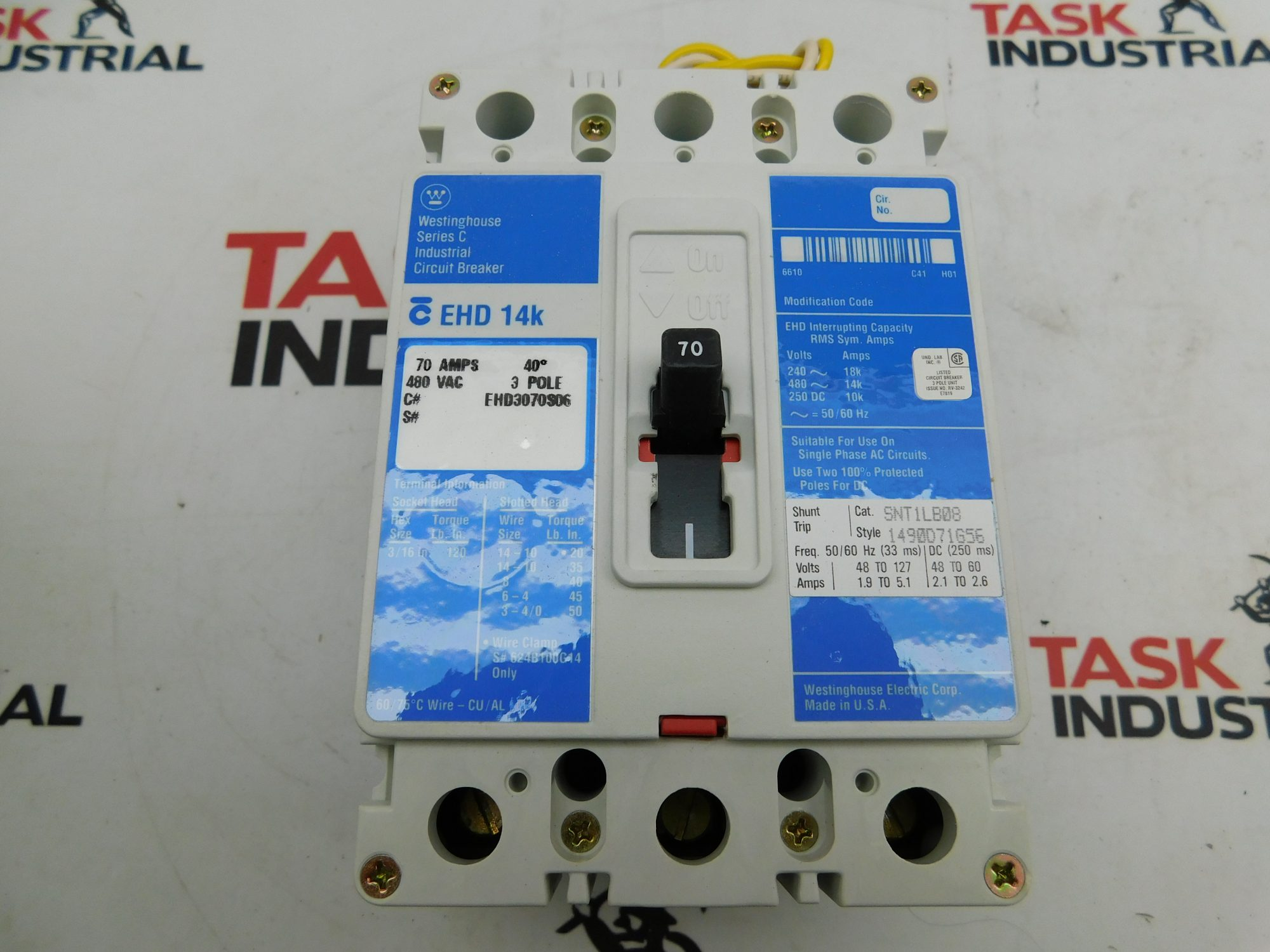 Westinghouse CAT No. EHD3070S06 70AMP 480VAC 3 Pole Industrial Circuit Breaker