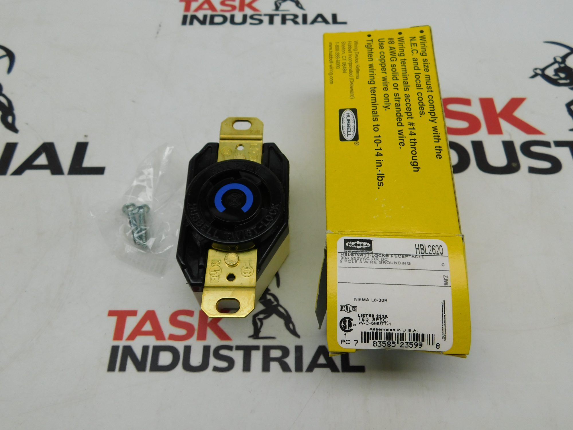 CASE OF 10: HUBBELL HBL2620 2P 3 Wire 30A 250 VAC VDC Receptacle Twist Lock