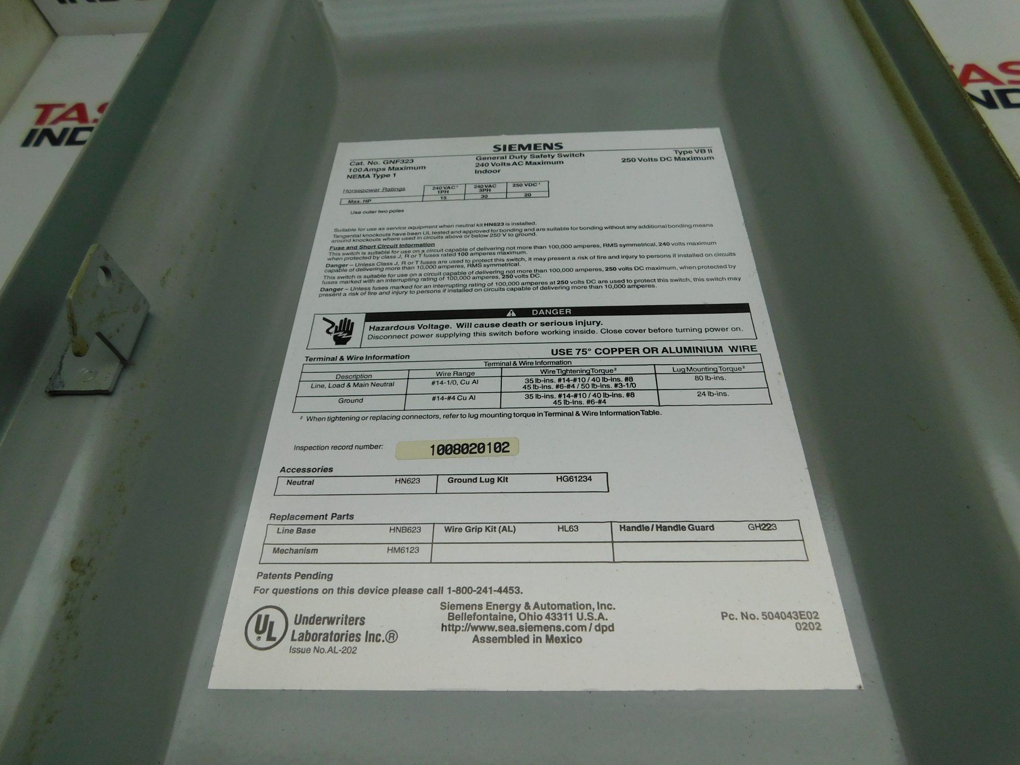 Siemens CAT No. GNF323, 240VAC 100A General Duty Safety Switch