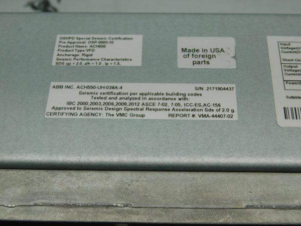 ABB ACH550-UH-038A-4 25HP 38A VFD